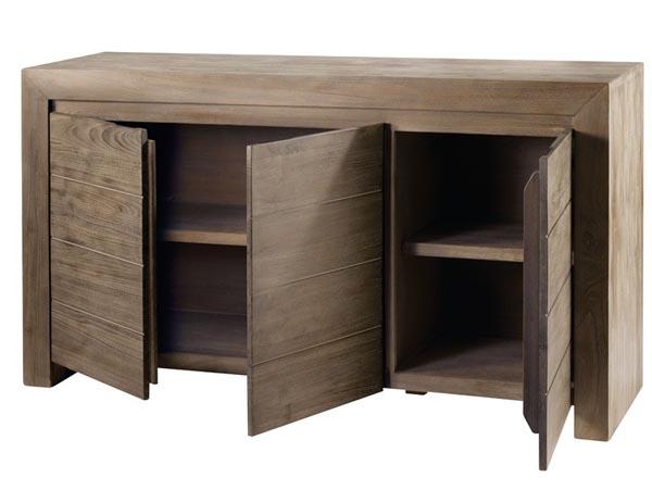 Meuble vasque teck 3 portes meuble salle bain meuble for Meuble 3 portes moderna