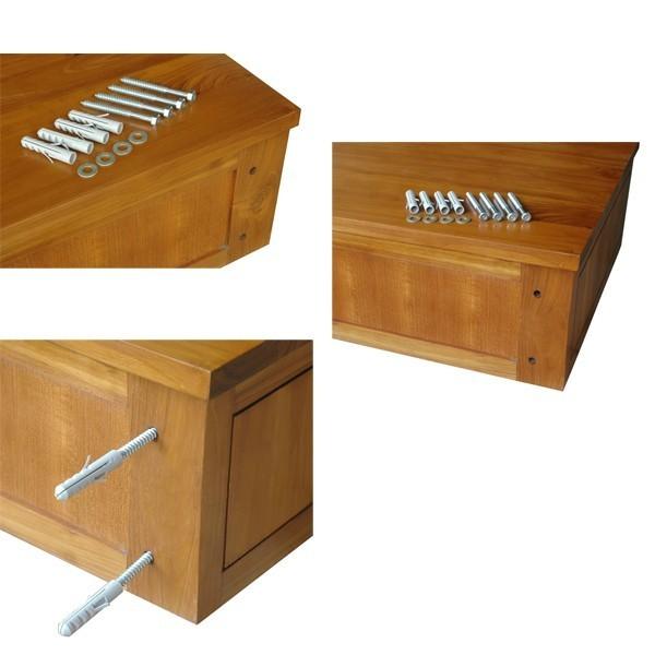Meuble sous vasque suspendre teck 1 porte 1 niche meuble for Meuble salle de bain a suspendre