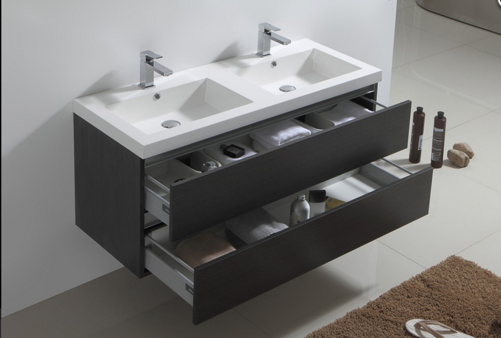 Meuble salle de bain gris pas cher simple with meuble for Meuble simple vasque pas cher