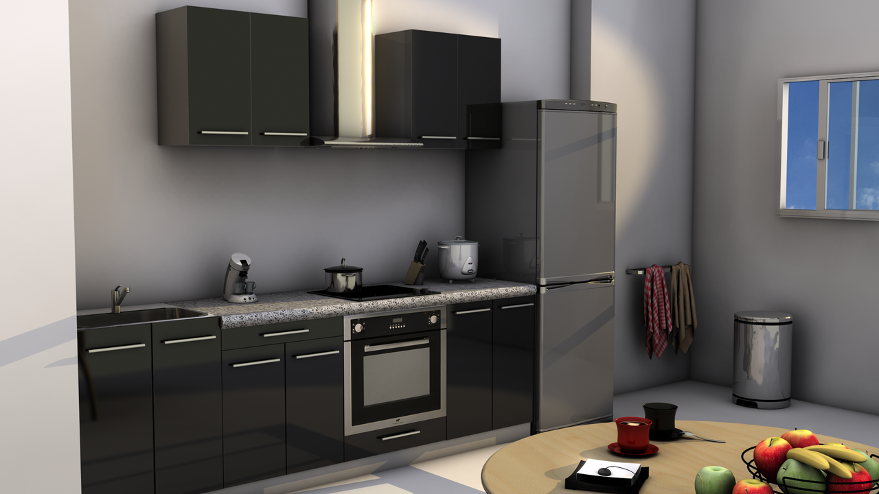 kitchenette pour hotel 180 noir - meuble kitchenette - hotel