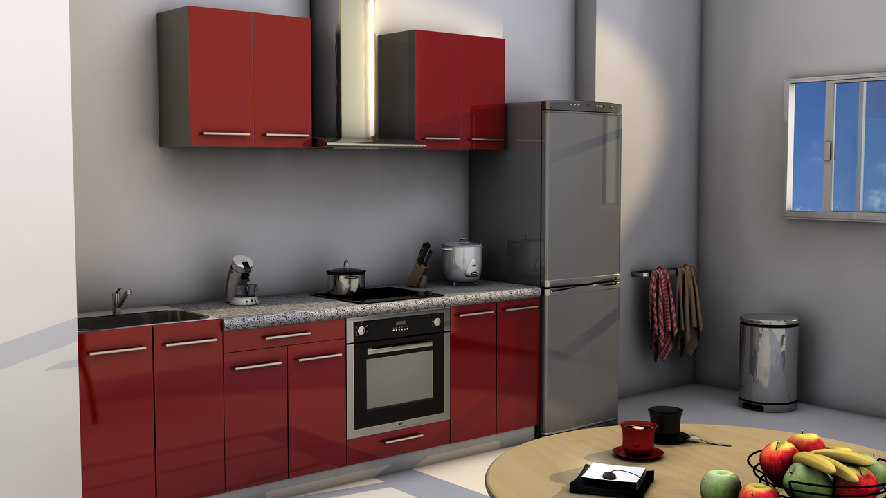 kitchenette pour hotel 180 rouge meuble kitchenette hotel. Black Bedroom Furniture Sets. Home Design Ideas