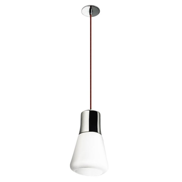 Lampe suspendue design chrome et opale Drop