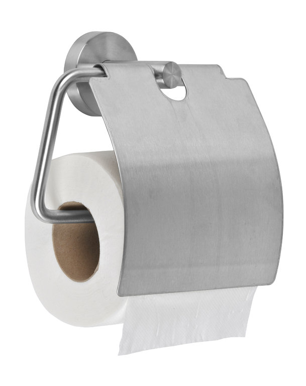 Stainless steel toilet paper holder with lid