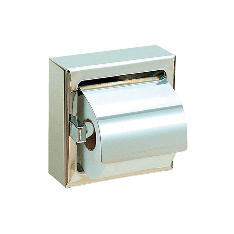 Stainless steel toilet paper holder with lid and molding