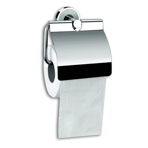 Chrome brass toilet paper holder with lid
