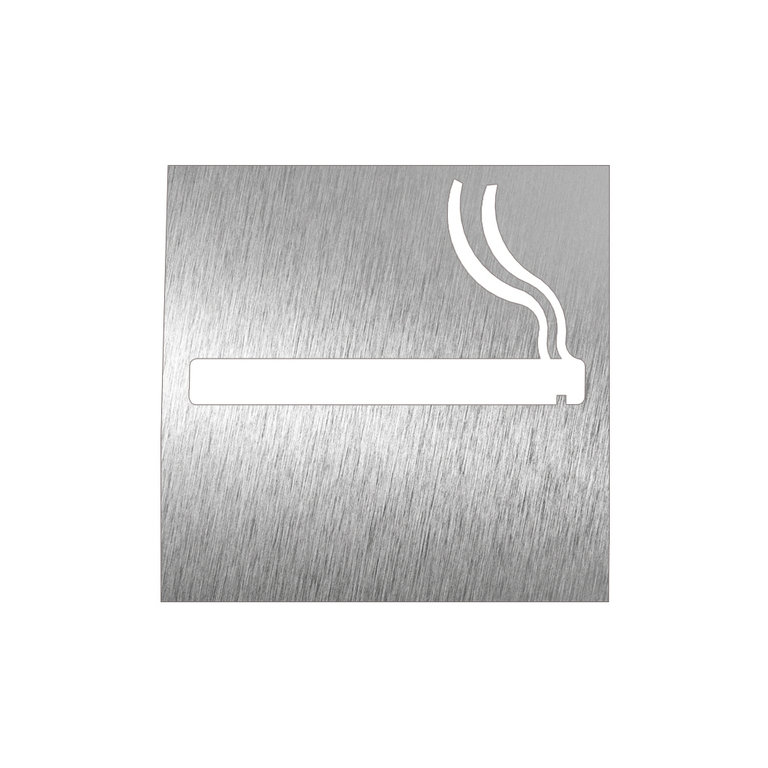 Name plate pictogram stainless steel smoking area