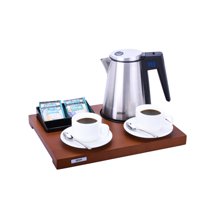 Set solid wood welcome tray with kettle