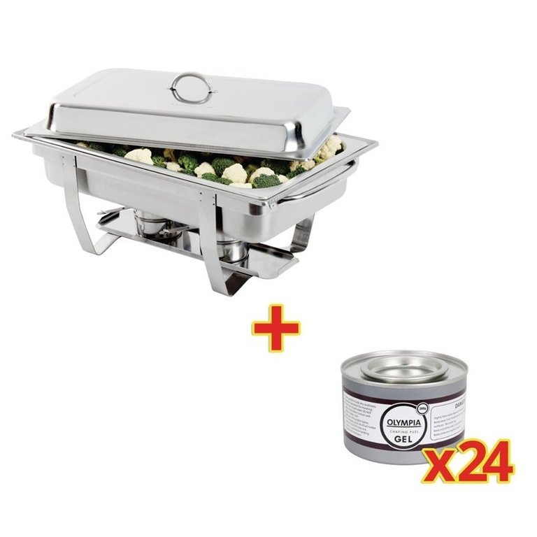 Chafing Dish Inox GN 1/1 Olympia + 24 capsules de combustible
