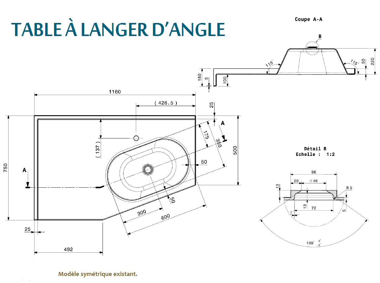 Table langer d 39 angle salle de bain Dimension table a langer