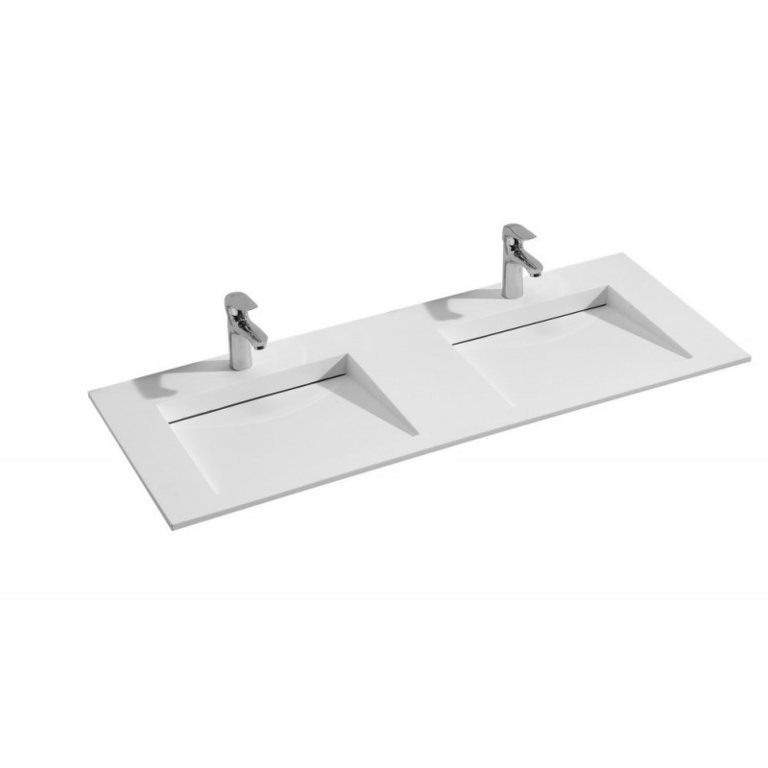 Plan double vasque rectangulaire 120 cm for Vasque rectangulaire salle de bain
