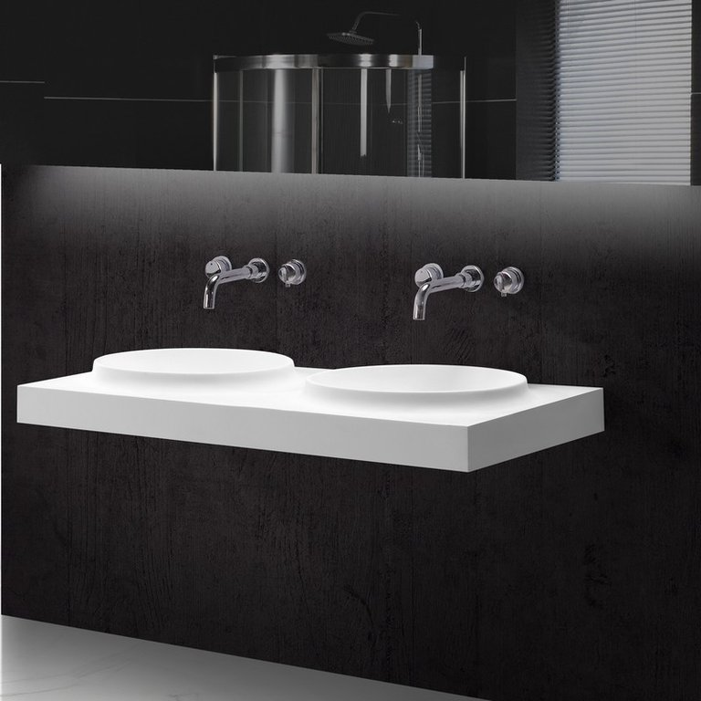 lavabo suspendu double vasque. Black Bedroom Furniture Sets. Home Design Ideas