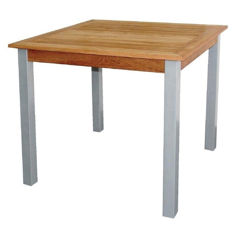 table carr e en bois et aluminium. Black Bedroom Furniture Sets. Home Design Ideas