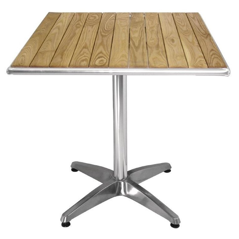 Ash Wood and Aluminium Square Table