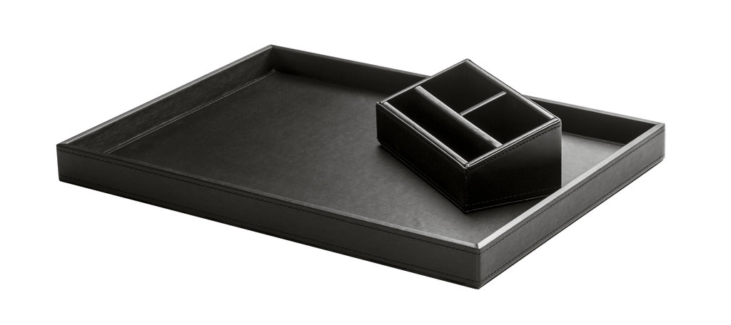 Tray Charme with black leather look