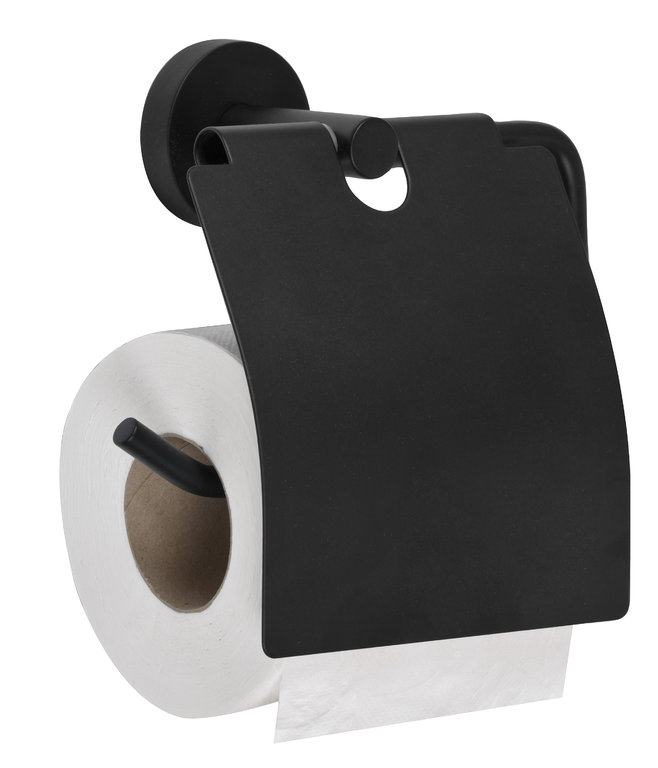 Black stainless steel toilet paper holder with lid