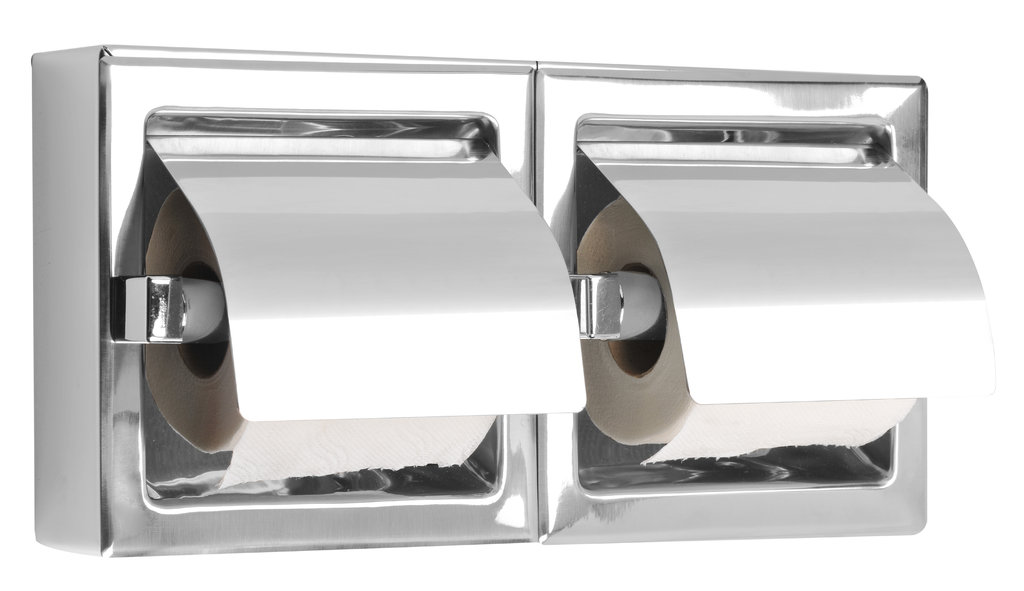 Double stainless steel toilet paper holder