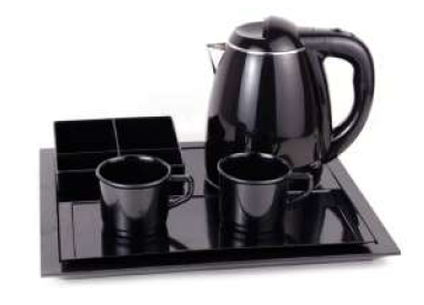 Welcome trays with kettle and two cups