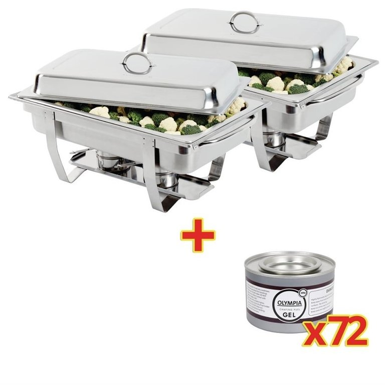 Lot de 2 Chafing Dish Inox GN 1/1 Olympia + 72 capsules